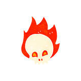 Retro cartoon flaming skull. Retro cartoon illustration. On plain white background Stock Photos