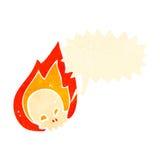 Retro cartoon flaming skull symbol. Retro cartoon with texture. Isolated on White Stock Photography