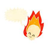 Retro cartoon flaming skull symbol. Retro cartoon with texture. Isolated on White Stock Image