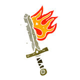 Retro cartoon flaming sword Royalty Free Stock Images