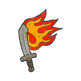 Retro cartoon flaming sword Stock Image