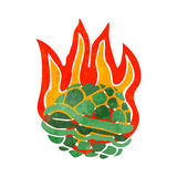 Retro cartoon flaming tortoise shell Stock Images