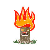 Retro cartoon flaming tree stump Stock Image