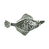 Retro cartoon flat fish Royalty Free Stock Photography