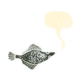 Retro cartoon flatfish with speech bubble Stock Photo