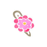 retro cartoon flower hair clip Royalty Free Stock Image