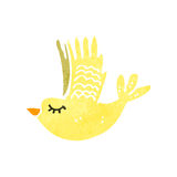 Retro cartoon flying bird. Retro cartoon illustration. On plain white background Stock Photo