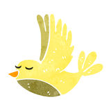 Retro cartoon flying bird. Retro cartoon illustration. On plain white background Stock Images