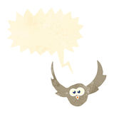 retro cartoon flying owl with speech bubble Royalty Free Stock Photo