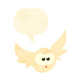 Retro cartoon flying owl with speech bubble Stock Images