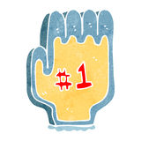 Retro cartoon foam sports hand Stock Photos