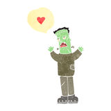 Retro cartoon frankenstein's monster in love Royalty Free Stock Photo