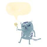 retro cartoon friendly cat with speech bubble Stock Photo
