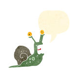 retro cartoon frightened snail Stock Image