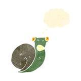 retro cartoon frightened snail Royalty Free Stock Image