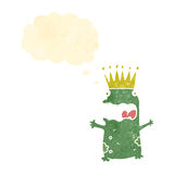 retro cartoon frog prince with thought bubble Royalty Free Stock Photos