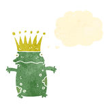 retro cartoon frog prince with thought bubble Royalty Free Stock Image