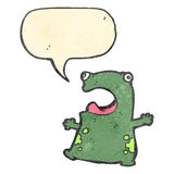 retro cartoon frog with speech bubble Royalty Free Stock Images
