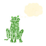 Retro cartoon frog with thought bubble Royalty Free Stock Images