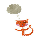 Retro cartoon funny ginger cat with thougth bubble Royalty Free Stock Images