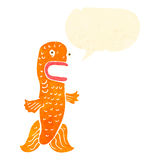 retro cartoon funny goldfish with speech bubble Royalty Free Stock Images