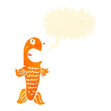 retro cartoon funny goldfish with speech bubble Stock Photo