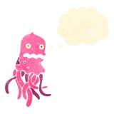retro cartoon funny jellyfish Stock Photo