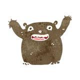 Retro cartoon funny little bear. Retro cartoon with texture. Isolated on White Royalty Free Stock Photo