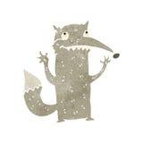 Retro cartoon funny wolf. Retro cartoon with texture. Isolated on White Royalty Free Stock Image