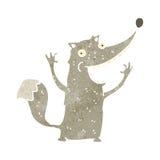 Retro cartoon funny wolf. Retro cartoon with texture. Isolated on White Royalty Free Stock Photos