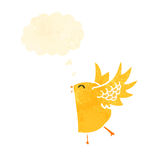 Retro cartoon funny yellow bird with thought bubble Stock Images