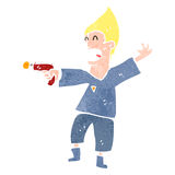 Retro cartoon future man with ray gun Royalty Free Stock Photos