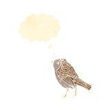 Retro cartoon garden bird with thought bubble Stock Image