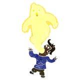 Retro cartoon ghost leaving man Stock Photos