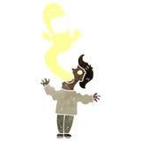 Retro cartoon ghost leaving man Stock Photo