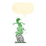Retro cartoon ghost rising from grave Stock Photos