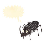 retro cartoon giant beetle with speech bubble Stock Photo