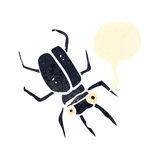 retro cartoon giant beetle with speech bubble Stock Images