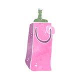 retro cartoon gift bottle bag Stock Image