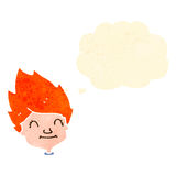 Retro cartoon ginger boy with thought bubble Royalty Free Stock Photos