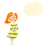 Retro cartoon ginger girl. Retro cartoon with texture. Isolated on White Royalty Free Stock Photos