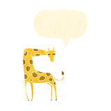 Retro cartoon giraffe with speech bubble Stock Photos