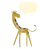 Retro cartoon giraffe with speech bubble Stock Photo