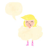 Retro cartoon girl with head in clouds, Royalty Free Stock Image