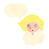 Retro cartoon girl with head in clouds, Royalty Free Stock Images