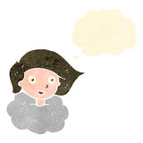 Retro cartoon girl with head in clouds Stock Images