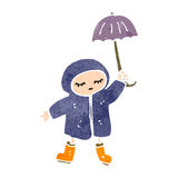 Retro cartoon girl in rain coat Stock Photo