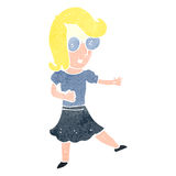 retro cartoon girl wearing spectacles Royalty Free Stock Images