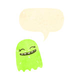 retro cartoon glowing green ghost Royalty Free Stock Photo