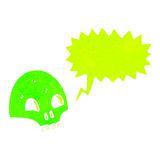 Retro cartoon glowing green skull symbol Stock Images